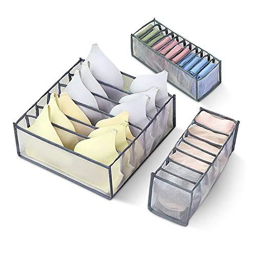 Unterwäsche Aufbewahrungsboxen, 3 Stück Kleiderschrank Organizer, Schubladen Organizer, Aufbewahrungsbox für Nylonschubladen, Klassifizierte Faltbox für Bhs, Socken, Unterwäsche und Krawatten, 31,5cm