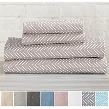 Great Bay Home Extra Soft Heather Jersey Knit (T-Shirt) Cotton Sheet Set. Soft, Comfortable, Cozy All-Season Bed Sheets. Carmen Collection By Brand. (King, Chevron Tan)