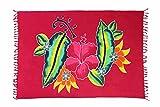 Ciffre Sarong Pareo Wickelrock Strandtuch Tuch Schal Wickelkleid Strandkleid Blickdicht Barbados - Rot Blumen