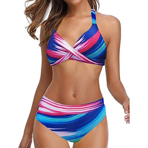 TGP 2020 Damen Bikini-Set Push Up Badeanzug Sexy Polka Dots Print BH Hohe Taille Slip Bademode Gr. 5XL, Aa