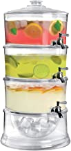 Beverage Dispenser Of 3 Layers With Ice Tube, Acrylic, Clear