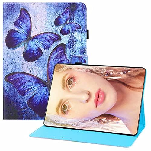 CRABOT Funda Reemplazo para Samsung Galaxy Tab 4 10.1/T530 Cuero PU Flip Carcasa Tablet Carcasa Ranuras Soporte Función Anti-Rasguños Auto Reposo/Estela Case-Mariposa