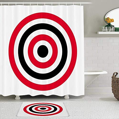 Juegos de Cortinas de baño con alfombras Antideslizantes, Golpear Red Bullseye Circle Objetivo Tiro con Arco Disparar Ojo Abstracto Amarillo Negro Blanco Patrón de puntería Preciso,con 12 Ganchos
