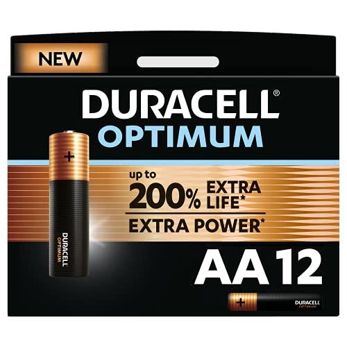 Duracell - NUOVO Optimum AA, Batterie Stilo Alcaline, confezione da 12, 1.5 V LR6 MX1500