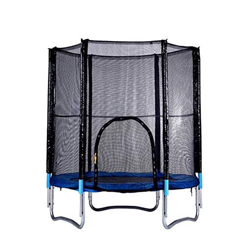 SEESEE.U Junior Jumper Springsafe Children's Trampoline And Enclosure,Round Trampolines with Safety Enclosure, Ladder, Weather Cover And Spring Tensioning Tool (6Ft, Blue)