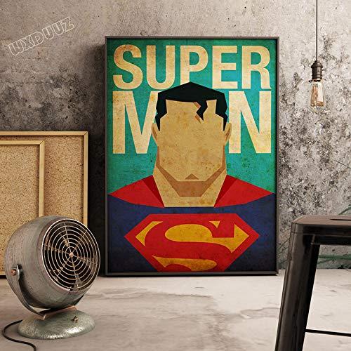 XWArtpic Klassische Superheld Film Supermacht Retro Poster Bild Cartoon Kindergarten Kinderzimmer wandkunst Wohnkultur leinwand malerei 30 * 40cm J