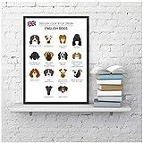 Cuadro de razas de perros en inglés abstracto Impresiones Tienda de mascotas Arte de la pared Póster Decoración Colección de perros Ilustración Pintura en lienzo Decoración del hogar-50x80cm Sin marco