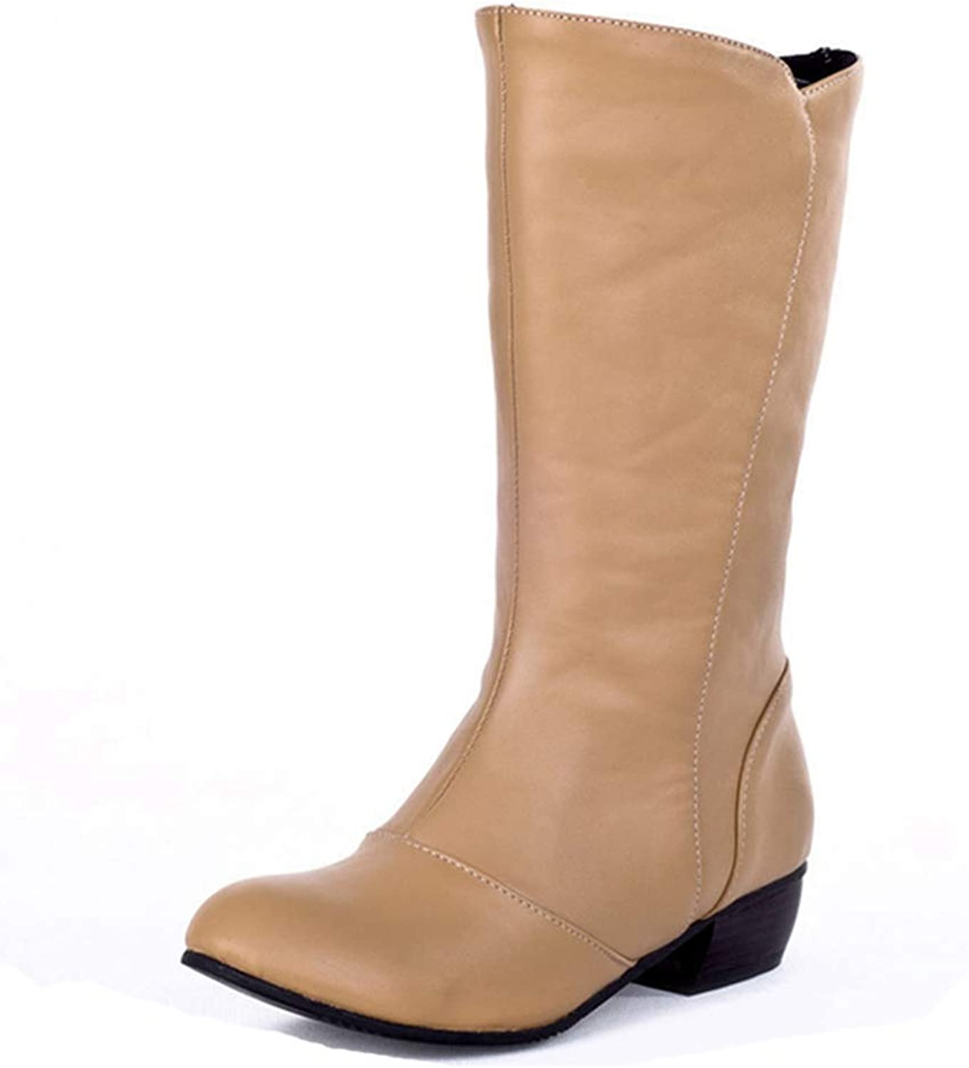 Beautiful - Fashion Women's Cowboy Mid Calf Tall Ankle Boots Wide Width Round Toe Slip-On Stacked Low Heel Western Boots