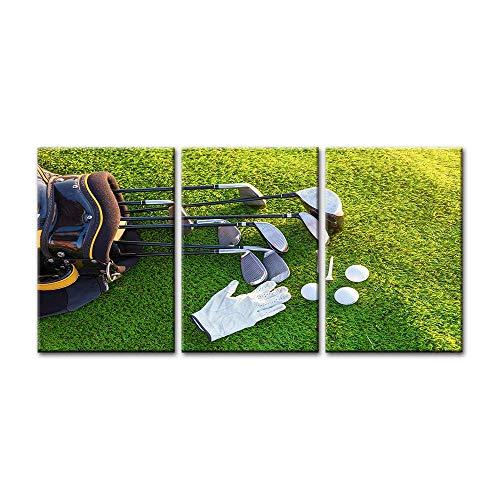QJXX 3 stuks moderne decoratieve prints afbeelding op canvas sport kunstwerk golfclubs handschoenen canvas afdrukken voor foto schilderijen muurkunst voor thuis leven eten decoratie