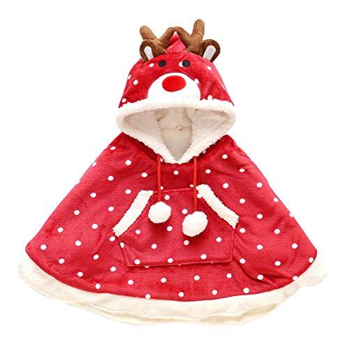 LSHEL Winter Warme Poncho Jacke für Jungen Mädchen Winddichte Hoodie Baby Kleinkind Umhang Cape Mantel mit Kapuze Outwear, Rot, 134/140(Empfohlene Höhe: 140cm)