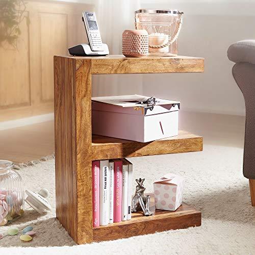 KADIMA DESIGN Design modern Beistelltisch IABMUM Massivholz Sheesham E Cube 60 cm hoch Wohnzimmer-Tisch braun im Landhaus-Stil