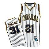 Camiseta para Hombre - Reggie Miller # 31 Indiana Pacers Camiseta Sin Mangas De Baloncesto Fan Camiseta Retro Malla Versión Transpirable,Blanco,M170~175cm/65~75kg