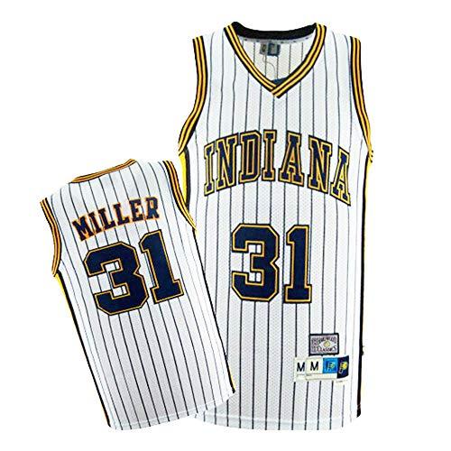 Maglia da Uomo - NBA Reggie Miller # 31 Indiana Pacers Basket Senza Maniche Top Fan T-Shirt retrò Versione Traspirante,Bianca,M170~175cm/65~75kg