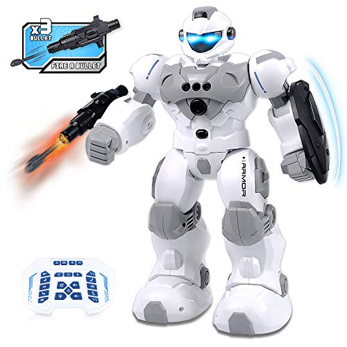 Seckton Robot Toys RC Robot for Kids Intelligent Programmable Missile Robot with Infrared Controller, Gesture Sensing Robot Interactive Walking Singing Dancing, Gift for Boys Girls (Gray)