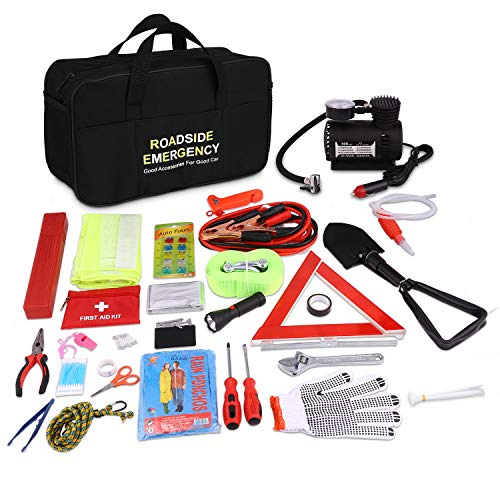 Adakiit Car Emergency Kit, Multifunctional Roadside Assistance,Auto Emergency Kit with Jumper Cables,Tow Rope,Triangle,Flashlight,Tire Pressure Gauges,Safety Hammer (99-in-1)