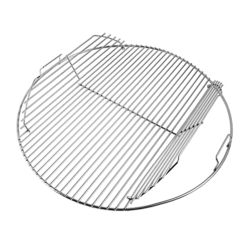 GriHero 54,6 cm runder Grillrost aus Edelstahl, aufklappbar, beheizt, Grill-Ersatzteile für 57 cm Weber Holzkohle-Grills, Weber Wasserkocher und Bar-B-Kettle, One-Touch