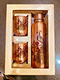 Copper Water Bottle Copper Tumbler Peacock Printed Copper Bottle Set of 1 Ayurvedic Health Benefits No Joint and Leak Proof Copper Water Bottle with Glass for Yoga, Gym 1L