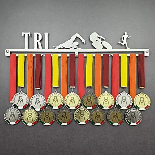 Triathlon - Medagliere da Parete Maschile - Porta medaglie Triatlon (Corsa, Nuoto, Ciclismo) - Sport Medal Hanger - Display Rack (M 450 mm x 80 mm x 3 mm)