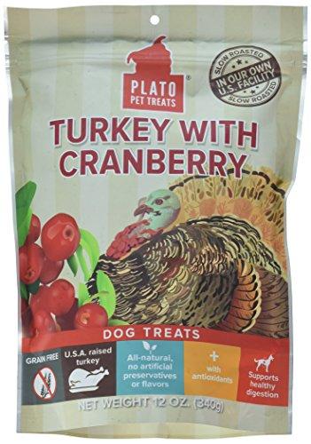 PLATO, Pet Treats, Real Strips Soft Dog Treats, Air-Dried in USA, Turkey & Cranberry, 12 oz Bag