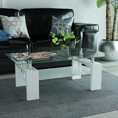 binzhoueushopping Table de Centre avec étagère inférieure 110 x 60 x 40 cm Blanche, Multifonctionnel Table