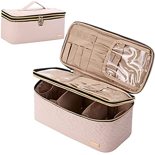 NISHEL Double Layer Makeup Bag Large Travel Cosmetic Case, Makeup Organizer for Lots of Brushes, Portable Toiletry Bag for Women and Girls, Pink
