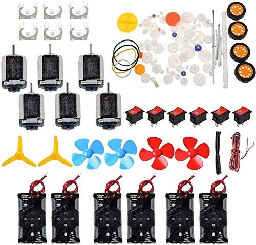 Auart Zyilei- Motor Gleichstrom 6 Set DC Motor Kit Hausgemachte DIY-Projekt-Kits, Wechseln Sie für DIY-Wissenschaftsprojekte, Gleichstrommotoren, Kabel, Verschleißfest