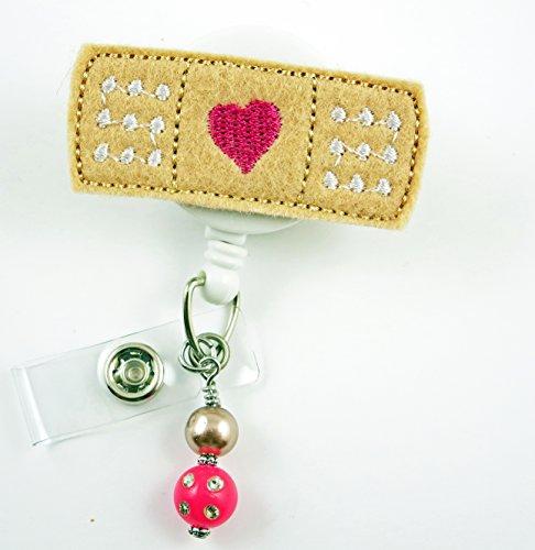 Bandaid with Fuchsia Heart Large- Nurse Badge Reel - Retractable ID Badge Holder - Nurse Badge - Badge Clip - Badge Reels - Pediatric - RN - Name Badge Holder