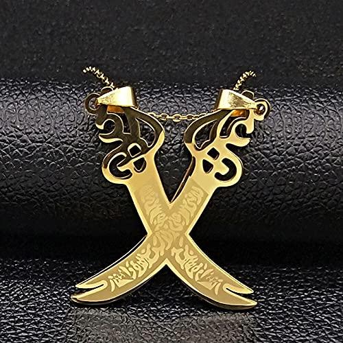 QNONAQ Acero Inoxidable joyería Retro Imam Ali Sword Muslim Islam Cuchillo Collar Joyería Acero Inoxidable Colgante Colgante Collares para Hombres Mujeres Jewlery (Metal Color : A GD 50cm O)