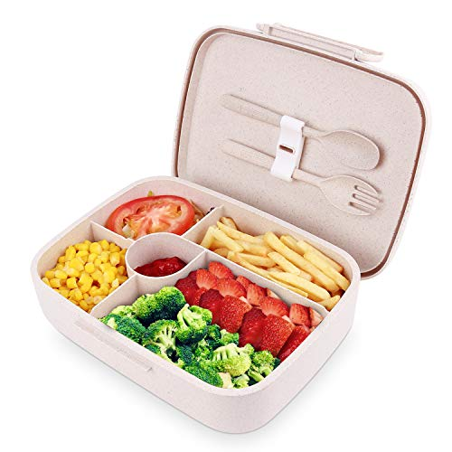 BRIGENIUS Brotdose Lunchbox Bento Box für Kinder Erwachsene mit Fächern, Auslaufsichere Brotzeitbox Weizenstroh Lunchbox, Halten Essen Frisch Brotdose für Kindergarten Schule