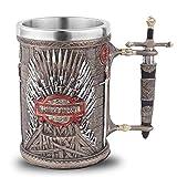 Taza de café, calavera de resina, calavera, jarra de cerveza de hielo y fuego, taza con mango de espada sagrada