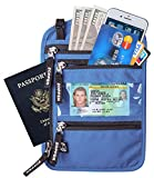 Zoppen RFID -Blocking Travel Passport holder Neck Stash Ultra Slim Wallet, Light Blue