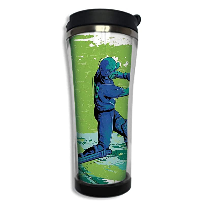 Customizable Travel Photo Mug with Lid - 14.2OZ(420 ml) Stainless Steel Travel Tumbler, Makes a Great Gift by,Sports,Cricket Player Pitching Win Game Champion Team Paintbrush Effect,Navy Blue Turquois