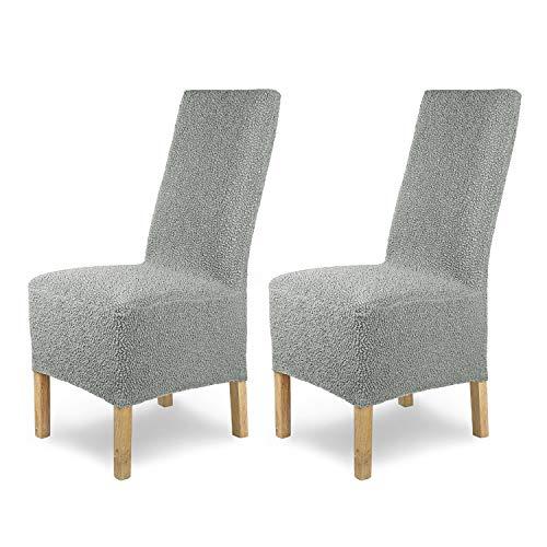 SCHEFFLER-Home Stretch Stuhlhusse Jacquard Lea | 2er Set elastische Stuhlabdeckungen | Stuhlhussen Schwingstühle | Spannbezug mit Gummiband | Elegante Stuhlbezüge, Grau