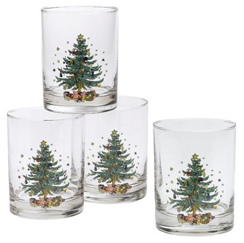 Nikko Ceramics Christmas Double Old Fashioned Glasses, Set of 4