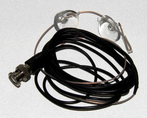 BNC Scanner Radio Receiver Glass Mount Wire Antenna Analog or Digital Reception Includes 2 Suction...