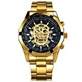 Reloj de pulsera de acero inoxidable, de CALUXE, lujoso, dorado, con diseño de calavera, mecánico, estilo steampunk