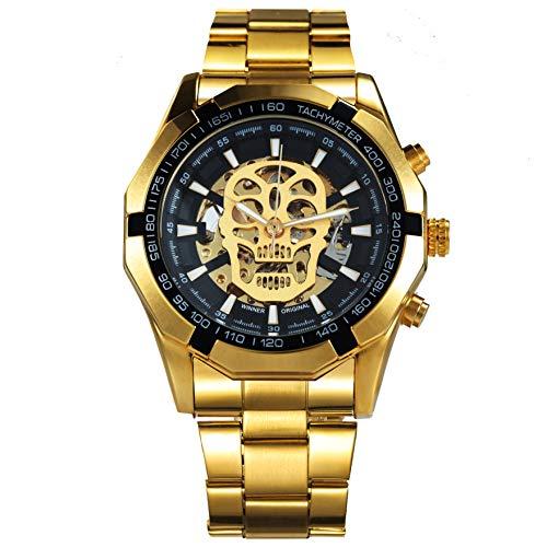 Caluxe Steampunk Armbanduhr für Herren, im Totenkopf-Design, Edelstahl-Armband, mechanisches Uhrwerk, skelettiertes Zifferblatt, Goldfarben