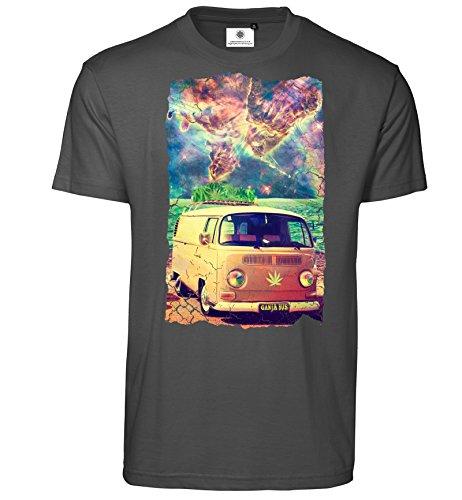 Customized by S.O.S Bedrucktes Herren Psychedelic T-Shirt Ganja Bus (XL, Koks)