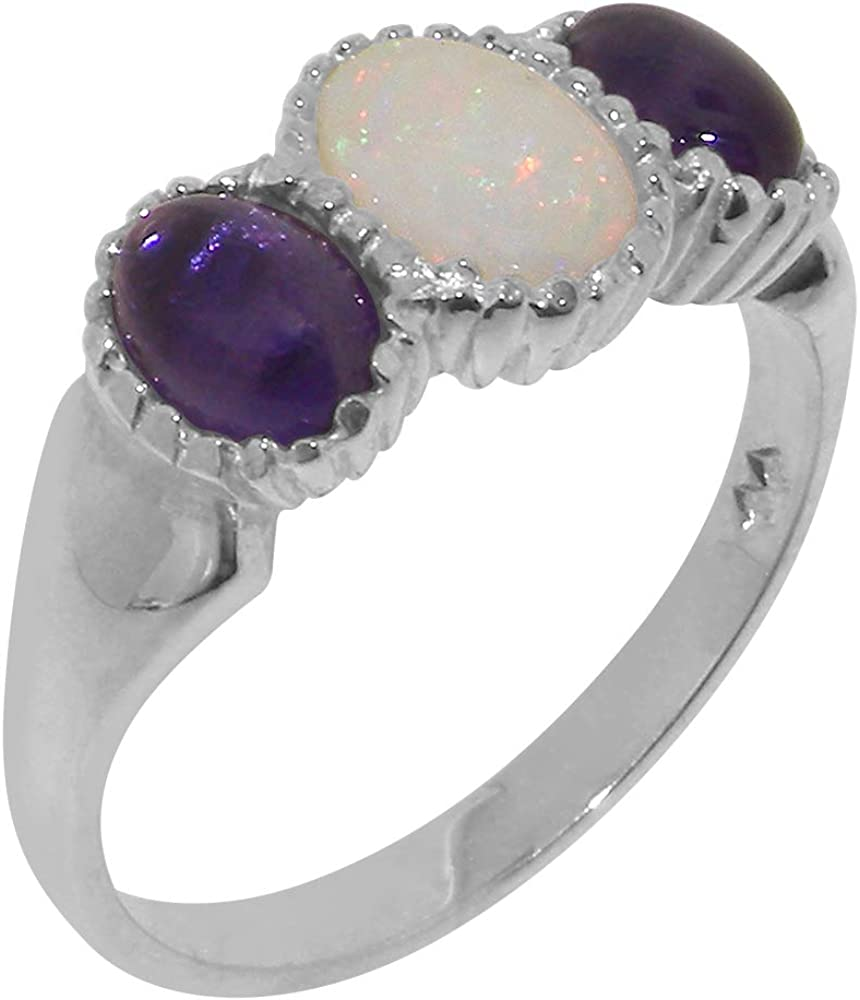 14k White Gold Natural Opal & Amethyst Womens Trilogy Ring - Sizes 4 to 12 Available