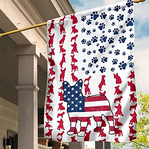 Flagify Frenchie Dog American Flag Gift for Dog Lovers Decorative Holiday Outdoor Weather Resistant Double Sided Print Yard Patio Lawn 4th Of July