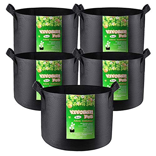 VIVOSUN 5-Pack 1 Gallon Grow Bags Heavy Duty Thickened Nonwoven Fabric Pots with Handles