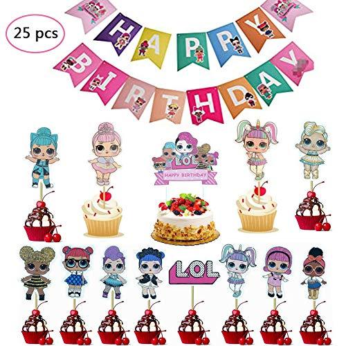REYOK 24 Stücke LOL Cupcake Topper Geburtstag Kuchen Dekorationen mit Einem Alles Gute zum Geburtstag Banner,LOL Puppen Zeichen Party Stand Up Papier Cupcake Topper,Kinder Geburtstag Party Decoration