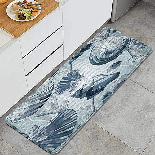 PANILUR Tappeto antiscivol,Blue Sea Pattern in Stile Nautico con Conchiglie Wave,da Usare Come zerbino o per Soggiorno, Camera da Letto, corridoio, Cucina