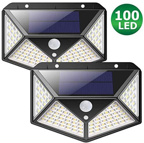Luces led solares para exteriores con BATERIA MEJORADA 2200mAh ZIMAX 100 LED Luz solar exterior jardin Sensor de Movimiento Lámpara Impermeable Iluminación Jardín y 3 Modos Inteligentes (2-Paquetes)