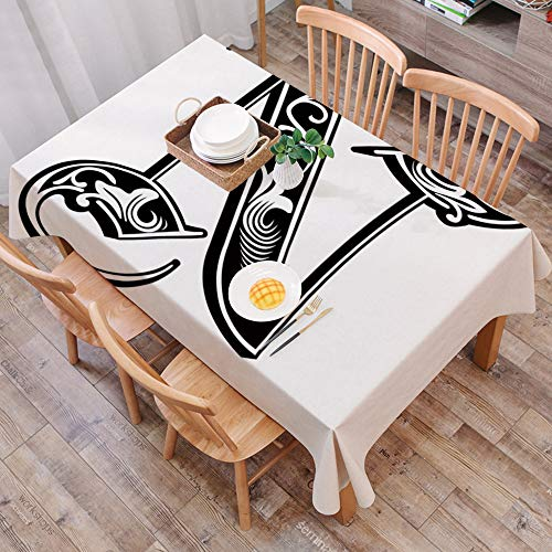 Mantel Antimanchas Rectangular Impermeable,Letra N, tipografia gotica de estilo victoriano, caracter clasico N mayus,Manteles Mesa Decorativo para Hogar Comedor del Cocina,(140 x 200 cm/55*78 pulgada)
