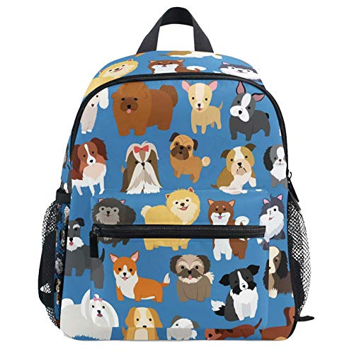 Cute Cartoon Funny Dog Backpack for Kids Girls Boys Animal Corgi Puppy Bookbag Daypack with Chest Strap Mini Elementary School Bags Water Resistant Durable for School Student