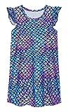 UNIFACO Girls Nightgown Pajama Dark Mermaid Printed Sleepwear Casual Sleep Shirts Nightie Princess Night Dresses