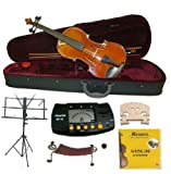 Merano MV400 4/4 Full Size Ebony Fitting Violin with Case and Bow+Extra Set of Strings+Extra Bridge+Shoulder Rest+Black Music Stand+Metro Tuner+Rosin+Mute