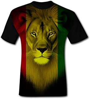 GDANHA Men's T-Shirts Jamaica Flag Rasta Lions Face 3D Floral Print T-Shirt Comfy Casual Tops for Men Tees