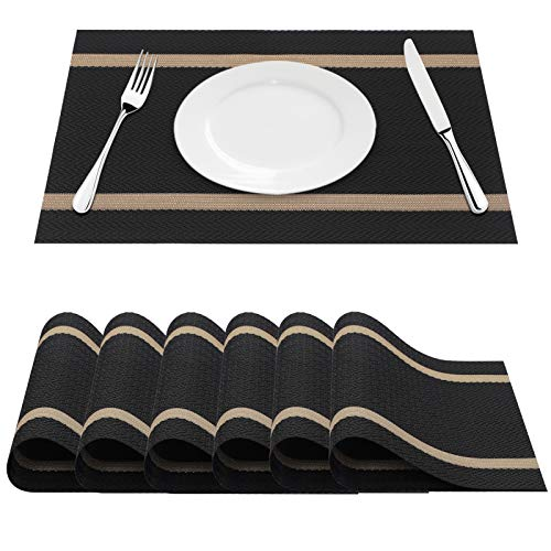 FYY Placemats, Placemats for Dining Table, Anti-Skid Heat-Resistant Washable PVC Table Mats Durable Stain Resistant Woven Vinyl Kitchen Table Mats, Set of 6 Black